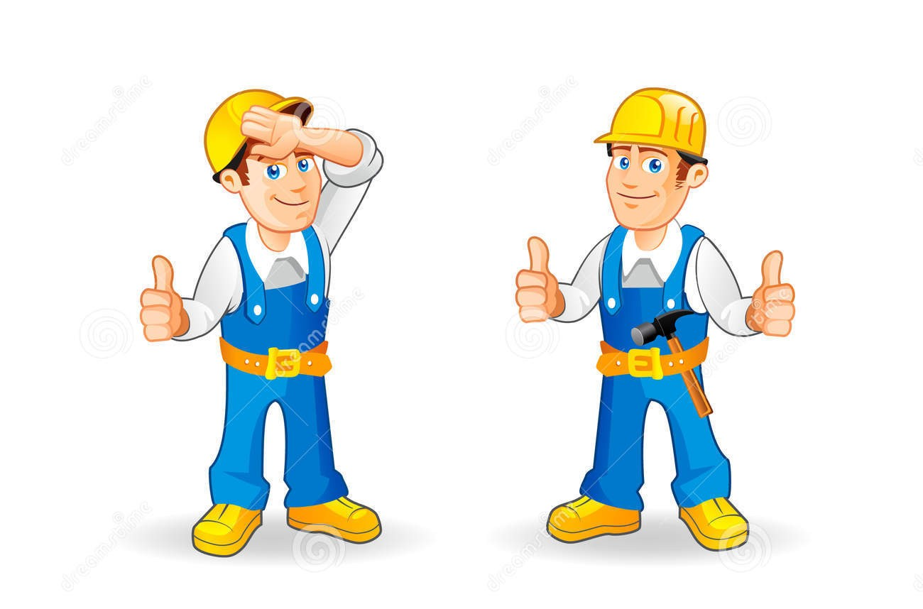 Cartoon construction worker characters set funny builder character hand drawn vector illustration 49092151 2